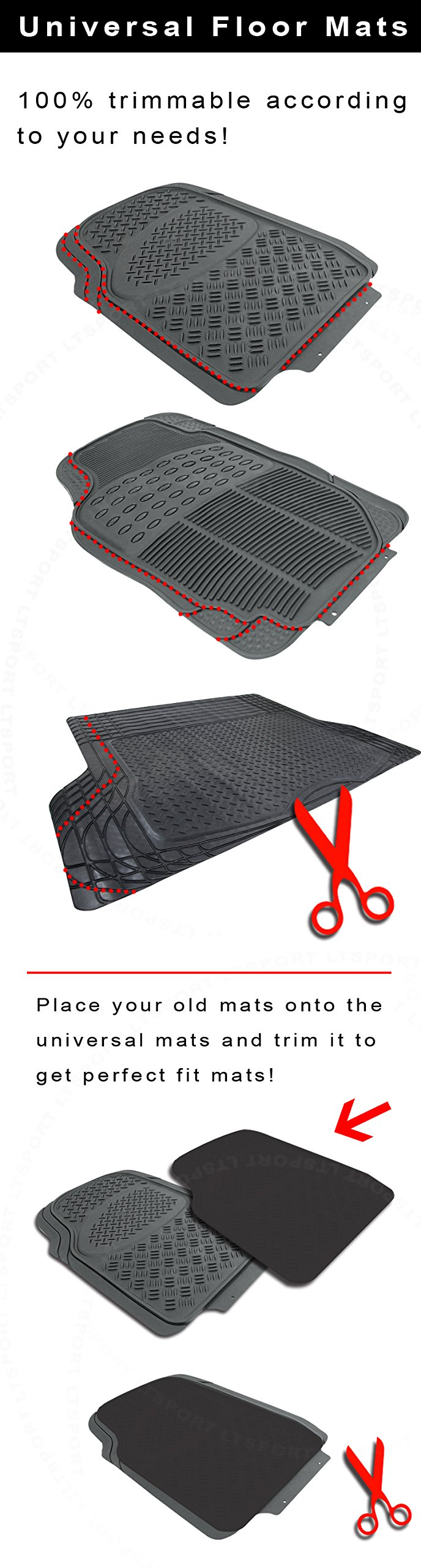 LT Sport SN#100000000776-319 For Mazda All Weather Protection Full set Rubber Floor Mat (Rubber)