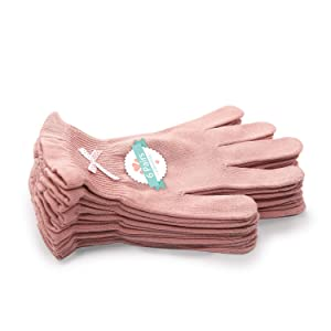 EvridWear Beauty Cotton Gloves with Touchscreen Fingers for SPA, Eczema, Dry Hands, Hand Care, Day and Night Moisturizing, 3 Sizes in Feather or Light Weight (6 pair XS, Feather Weight Pink Color)