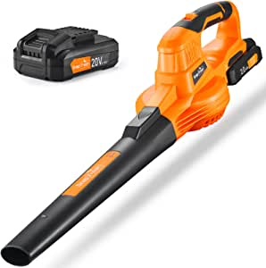 SnapFresh Leaf Blower - 20V Cordless Leaf Blower with Battery & Charger, Electric Leaf Blower for Yard Cleaning, Lightweight Leaf Blower Battery Powered for Snow Blowing (Battery & Charger Included)