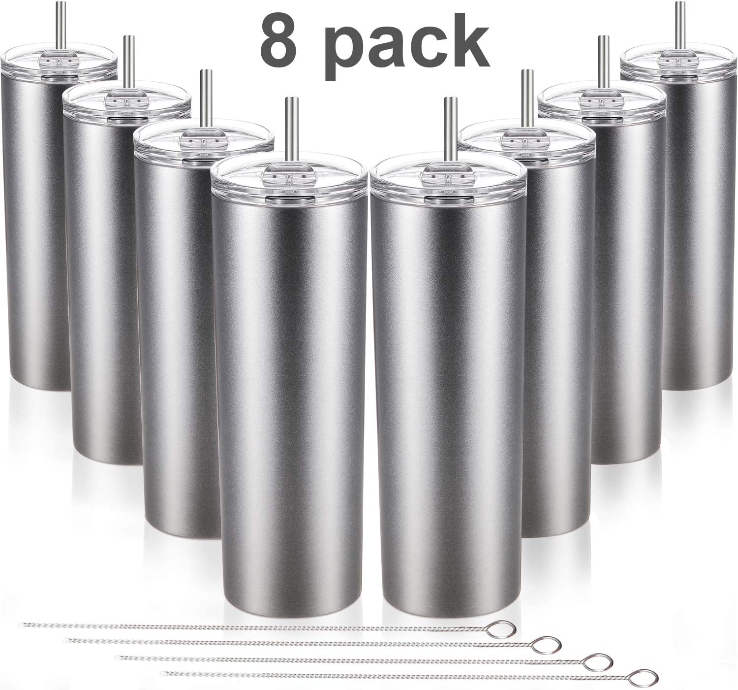 8 Pieces Stainless Steel Skinny Tumbler 20 OZ Double-Insulated Water Tumbler Cup Unbreakable Travel Mug with Lids Straw and Cleaning Brush for Hot or Cold Drinks (Silver)