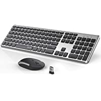 Wireless Keyboard and Mouse Combo, Jelly Comb KUT027 Wireless Keyboard and Mouse 2.4GHz Full Size Ultra-Thin Keyboard Mouse for Computer, Laptop, PC, Desktop, Windows 7, 8, 10 -Black and Sliver