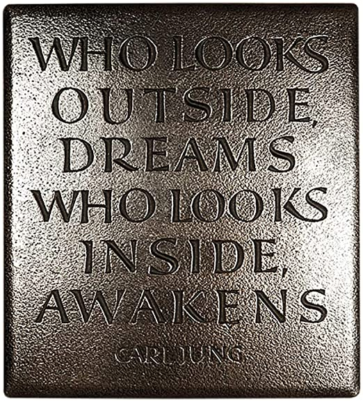 Who Looks Outside Dreams Carl Jung Quote Bronze Plaque Amazon Ca Home Kitchen