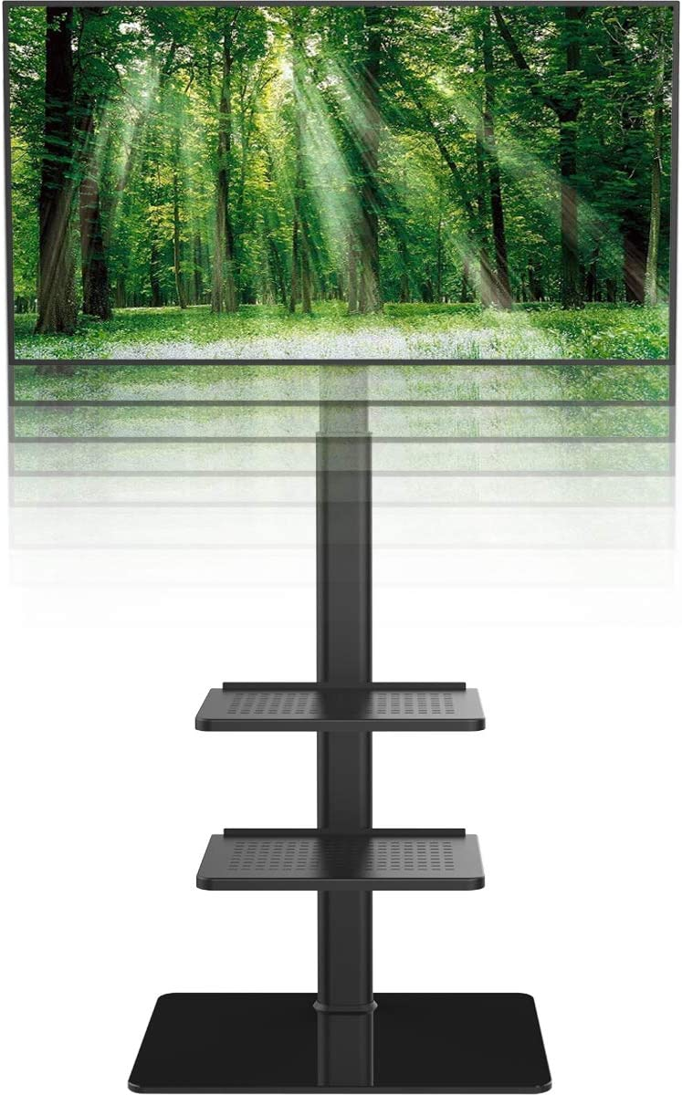 Universal Floor TV Stand with Mount for 19 to 42 inch Flat Screen TV, 100 Degree Swivel,Adjustable Height and Tilt Function, 3 Shelves HT3001B