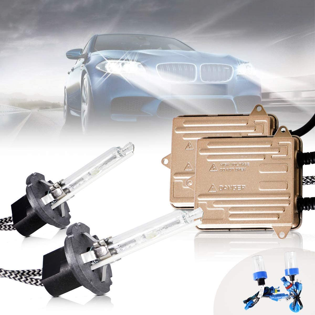 2 Set 12V 35W 6000K 3200Lm VLAND D2H Xenon Bulb Conversion Kit with Ballasts for Projector Headlights Compatible with D2S D2R D4S