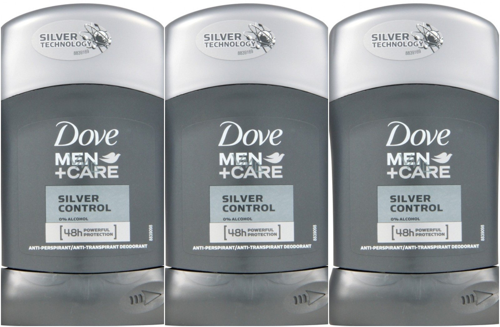 Dove Men's Deodorant Stick Silver Control 1.69 Oz Travel Size (Pack Of 3)