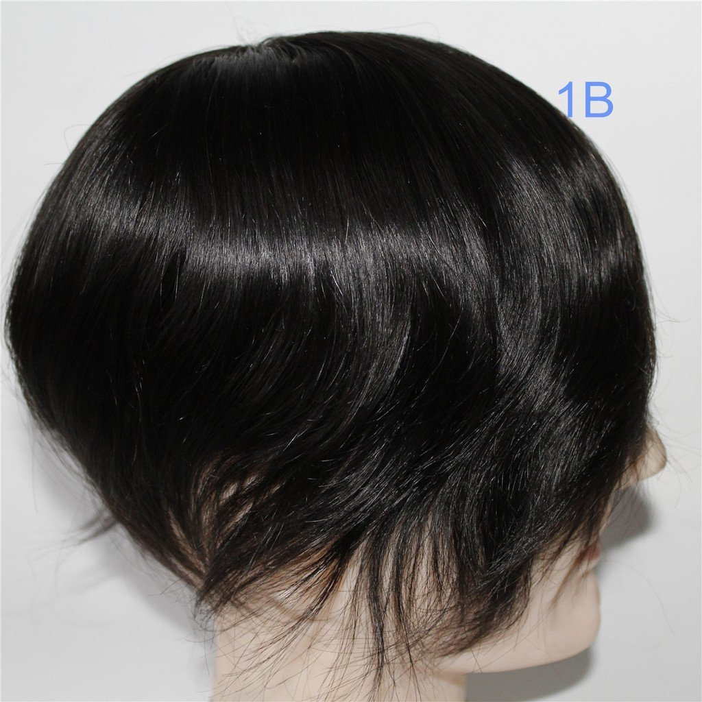 Lumeng Wigs Human Hair Men Toupee Mono Lace With Npu Around Lace Systems Size 6x8 Inch 6 Inch Length Color 1B