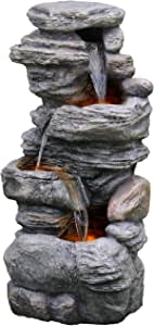 Peaktop 3-Tier Outdoor Waterfall Water Fountain with LED Lights for Garden Patio and Deck, Gray