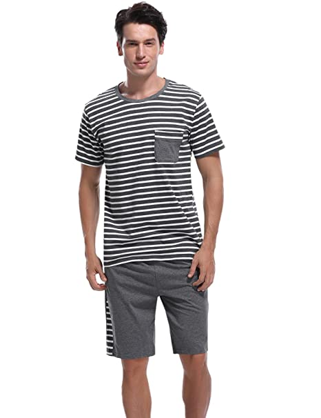 Sykooria Pijamas Verano Hombre Cortos 2 Piezas Algodon,Mas Suave Comodo y Agradable