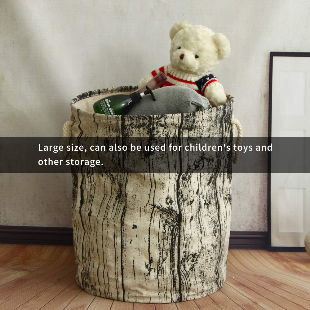 SANLI 20'' Tall Large Laundry Basket Collapsible Baby Boy Rustic Canvas Nursery Hamper with 3 Support Rods for Sport Rods for Sturdy, 20'' Tall and 16'' Diameter Big Woodland Themed Organizer, Tree Stump by SANLI (Image #9)
