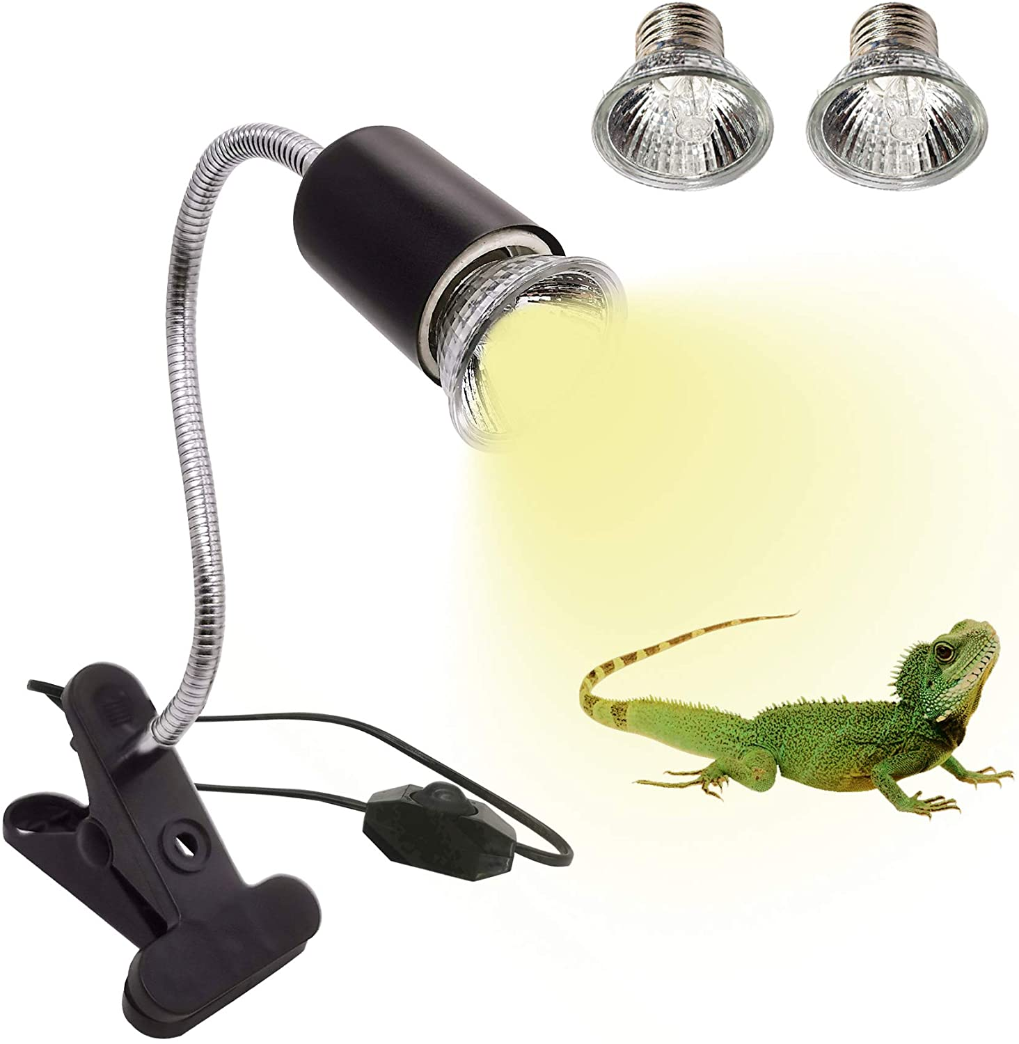 IOOTSEA Reptile Aquarium Heat Lamp Turtle Lights with Clip, 2 UVA UVB Bulbs (50W) Basking Lamp Adjustable Holder, Pet Heating Light Lamp for Reptile Turtle Lizard Snake (E27, 110V)