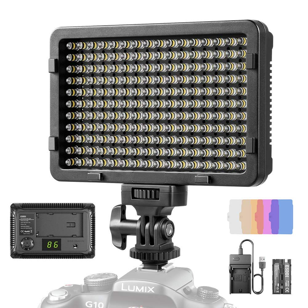 LED Video Light, ESDDI 177 LED Ultra Bright Dimmable Camera Panel Light with Battery and USB Cable for Canon, Nikon, Pentax, Panasonic, Sony, Samsung, Olympus and All DSLR Cameras by ESDDI