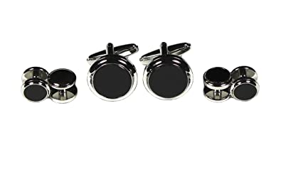 0a311c32ef7f Tuxedo Shirt Stud and Cufflink Set Silver Plate with Real Onyx (1 Pair  Cufflinks and