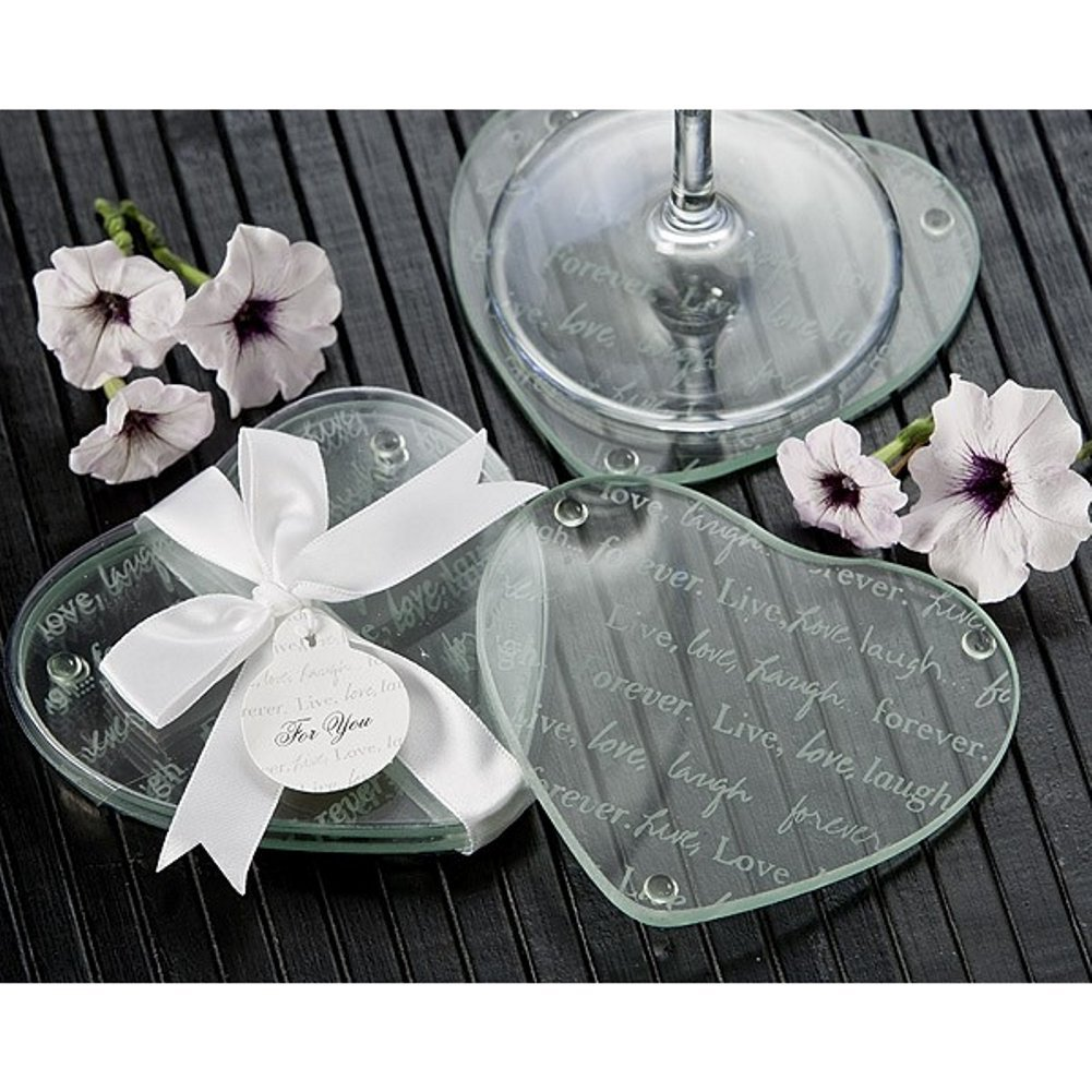 Live, Love, Laugh...Forever Heart Glass Coaster Set (Pack of 40 Sets)