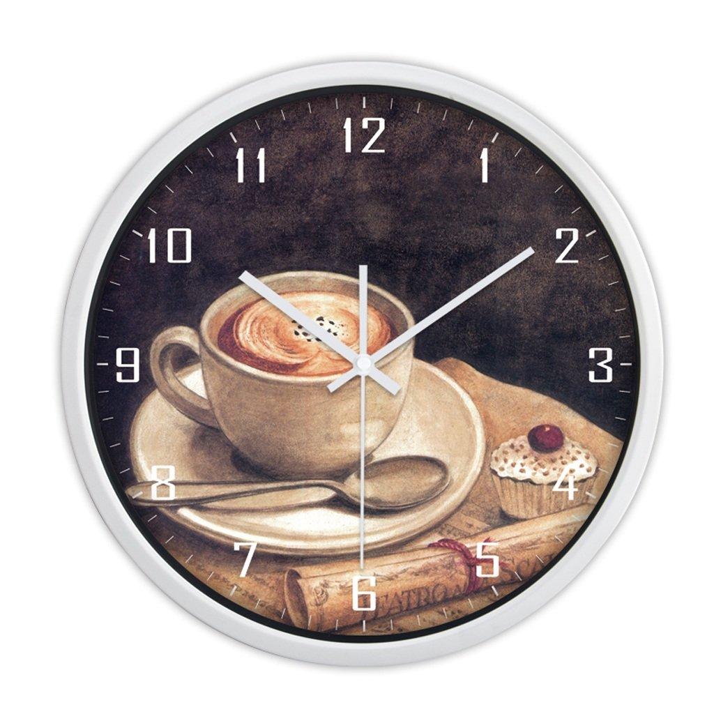 現代トレンドパーソナリティメタルウォールチャートリビングルームのベッドルームの装飾のアイデアシンプルな大きなミュートの壁時計 (色 : 白, サイズ さいず : 30センチメートル) B07CYSJS5J 30センチメートル|白 白 30センチメートル