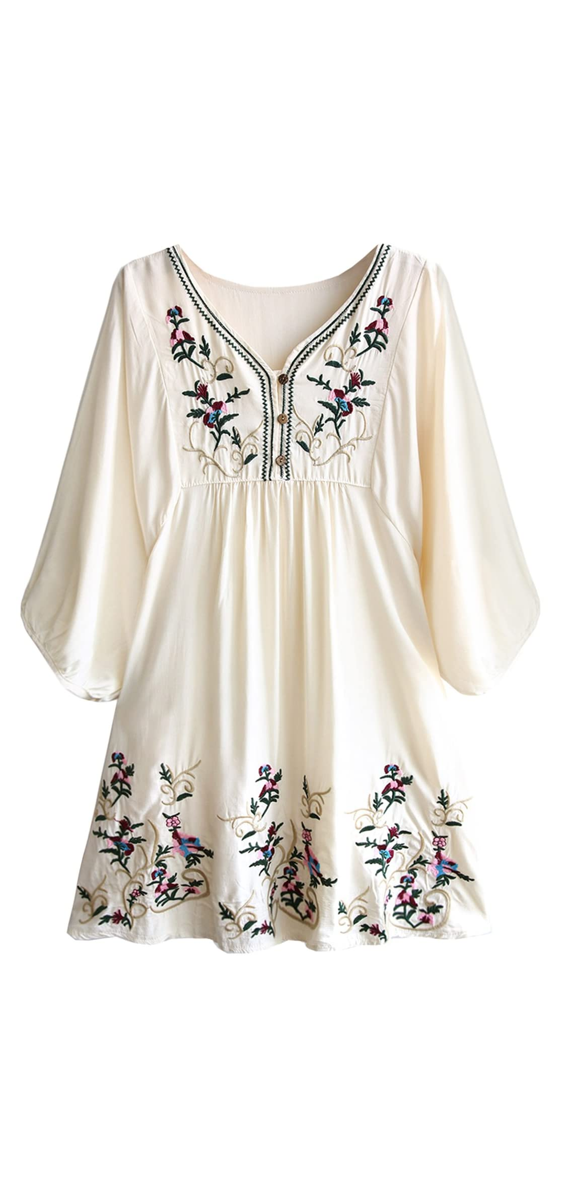 Women's Bohemian Embroidery Floral Tunic Shift Blouse