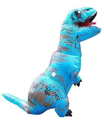 Prettycos Disfraces de Hinchable T Rex Dinosaurio Traje Inflable para Adultos Ninos Cosplay para Fiesta Halloween