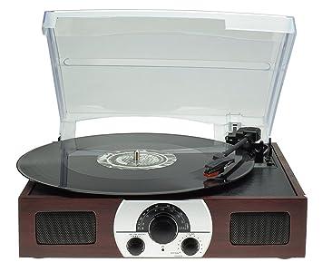 Tocadiscos con Estéreo Altavoces , Apoyos AM FM Radio / 33 45 78 RPM / RCA Out / Belt Drive / Madera Natural