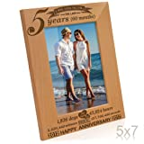 Kate Posh - 5 Years (60 Months) Anniversary - Includes 2012 (Marriage Year) and 2017 (5th Anniversary Year) - Engraved Natural Solid Wood Picture Frame and Wall Decor (5x7-Vertical)
