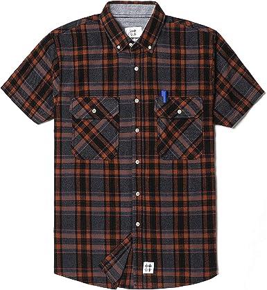 Mens Plaid Checkered Button Down Casual Short Sleeve Dress Shirt