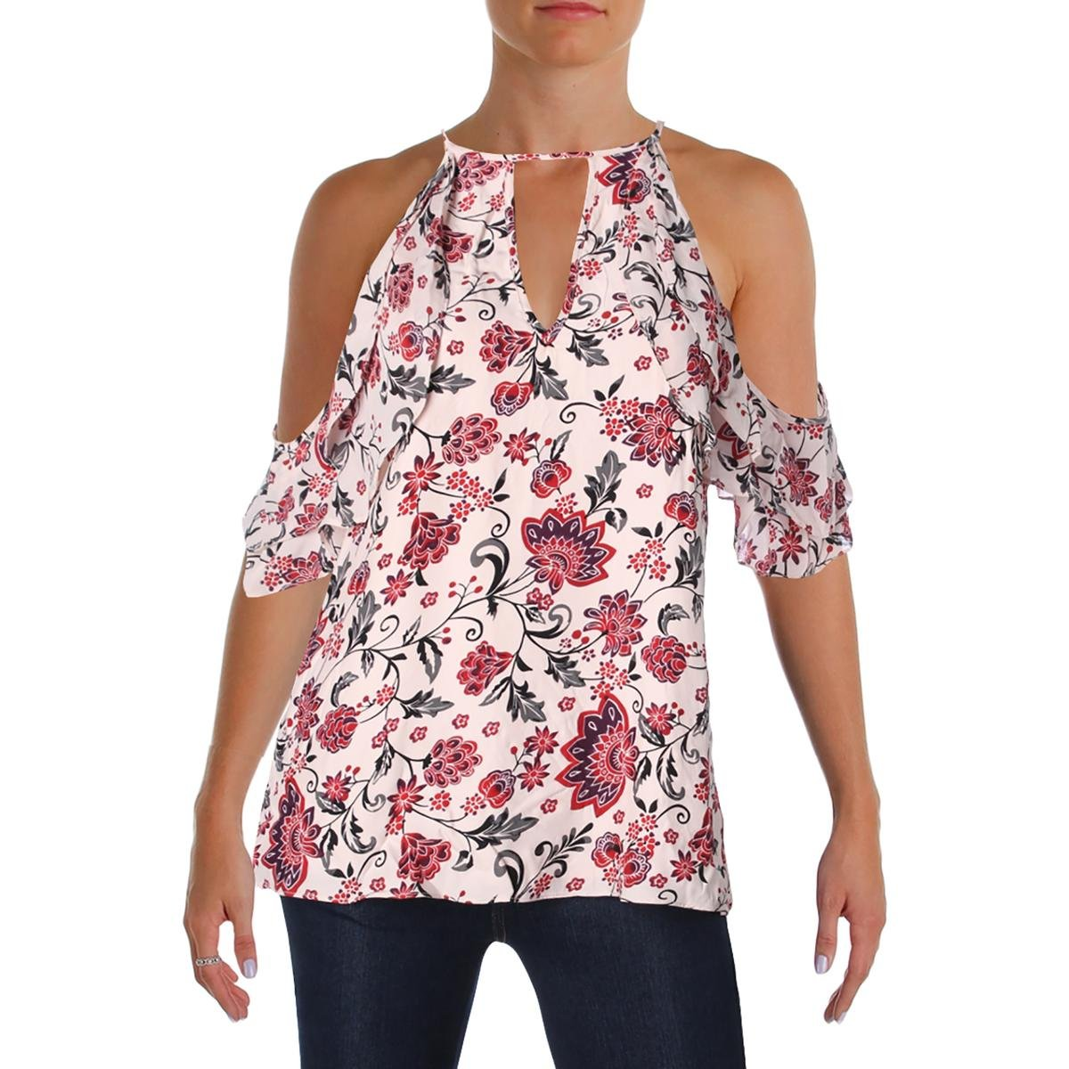 Parker Womens Chelo Floral Printed Keyhole Casual Top Pink L