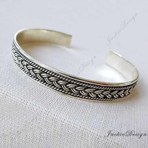c70a10d8e Amazon.com: Braided Pattern Bali Ornate Handmade 925 Sterling Silver Bangle  Cuff Bracelet JD186: Handmade