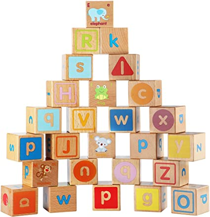 Wood Stacking Block Toy Kid Wooden Building Blocks Alphabet Number Tower Color