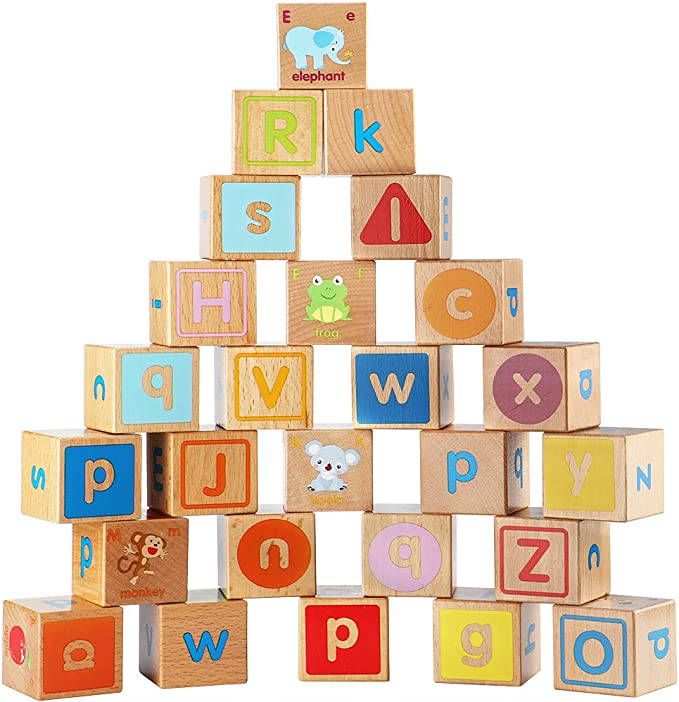 Amazon Com Lewo Wooden Abc Blocks Building Games Extra Large 26 Pcs Alphabet Letters Block Set Montessori Educational Toys For Kids Toddlers Toys Games