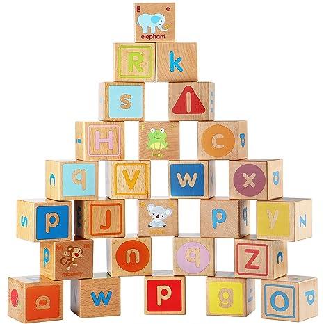 Lewo Wooden Abc Blocks Building Games Extra Large 26 Pcs Alphabet Letters Block Set Montessori Educational Toys For Kids Toddlers