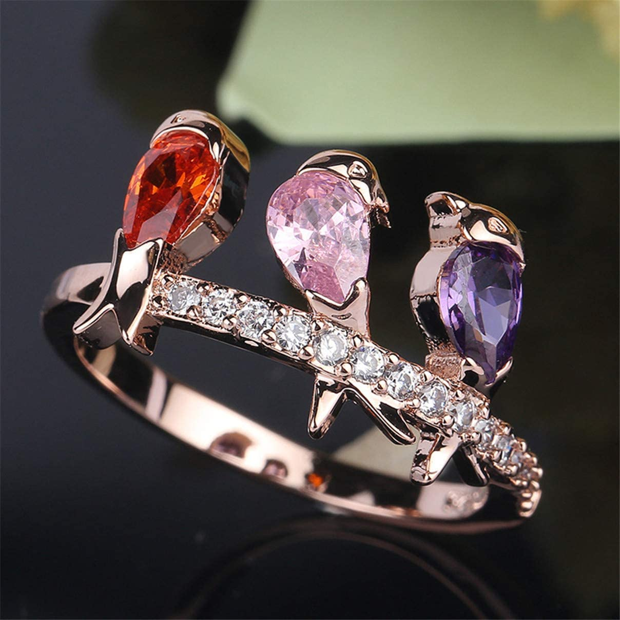 Essencedelight Animal Rings with Crystal Charming Lovely Bird Cubic Zircon Rhinestone Ring for Women Girls Jewelry Gift
