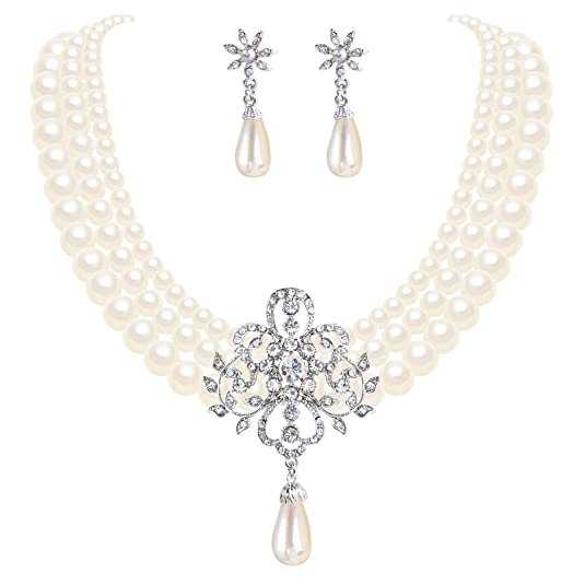 Victorian Costume Jewelry to Wear with Your Dress EleQueen Womens Silver-tone Simulated Pearl Crystal Victorian Style Flower Ivory Color $19.99 AT vintagedancer.com