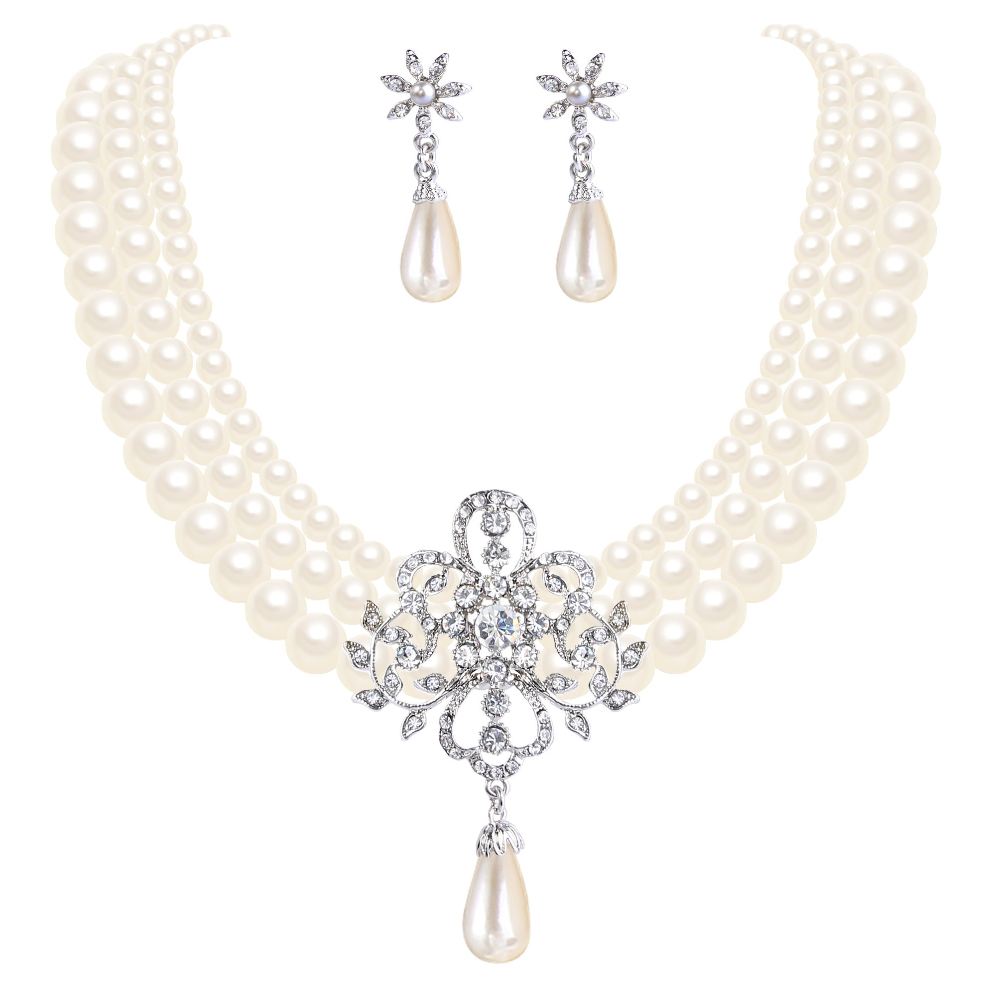 EleQueen Women's Silver-tone Simulated Pearl Crystal Victorian Style Flower Wedding Jewelry Sets For Brides Ivory Color