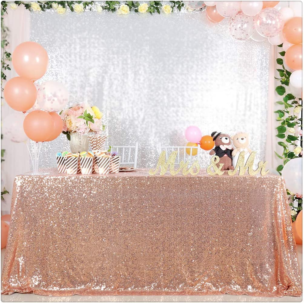QueenDream Sequin TableCloth Wedding Party TableCloth Holiday Picnic 50x102 Inches Rose Gold