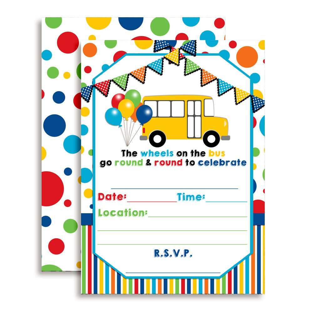 Amanda Creation Wheels on The Bus Themed Birthday Party Fill in Invitations Set of 20 with envelopes