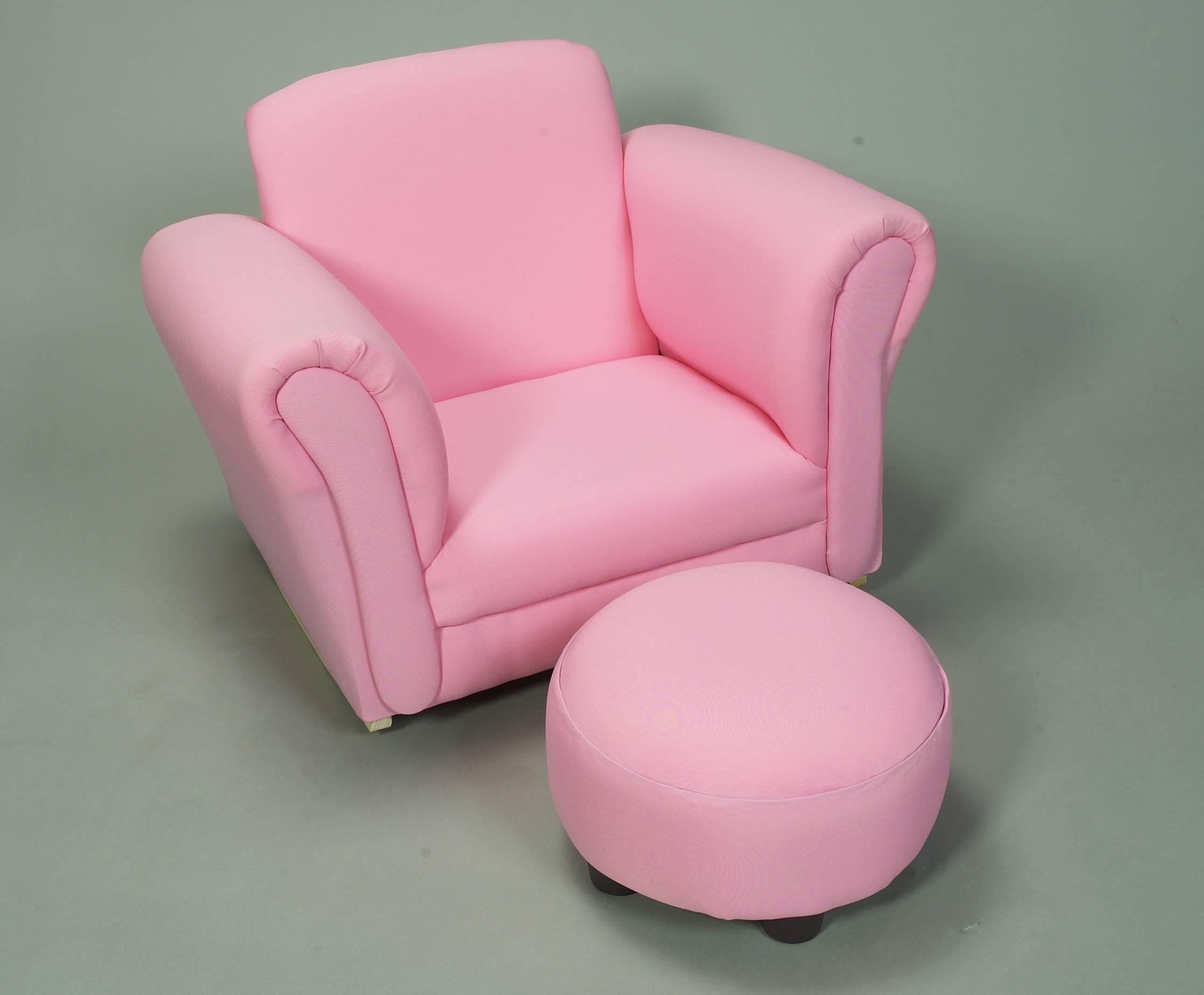 Gift Mark Upholstered Rocking Chair and Ottoman, Pink