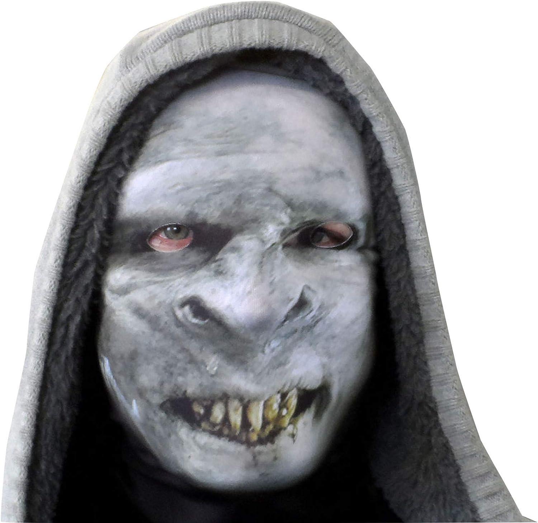 Scary Halloween Full Face Mask White Grim Reaper Design Fabric Fancy Dress