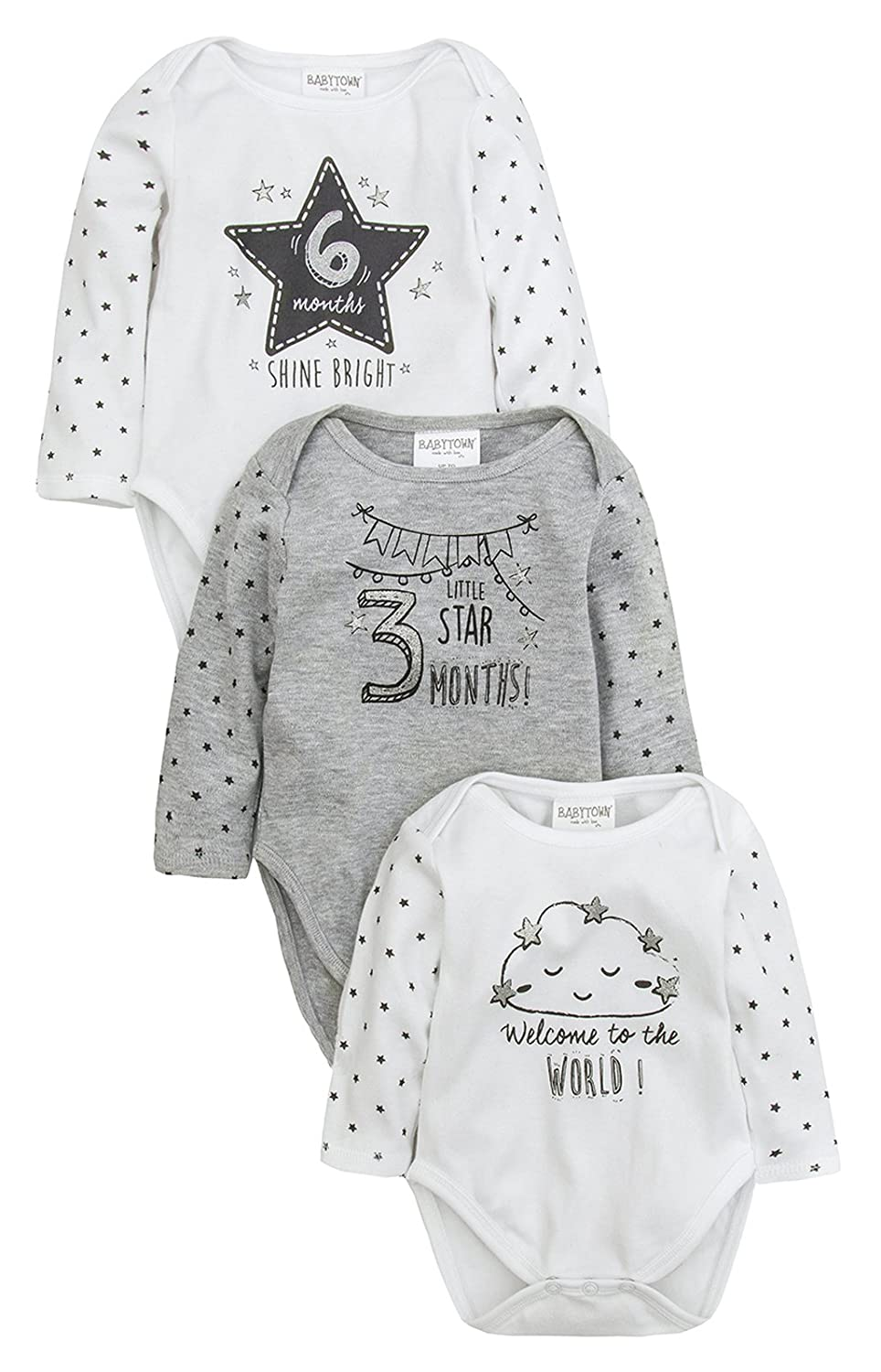 Strong Souls Baby Boys Bodysuits (Pack of 3) CKMN-505635