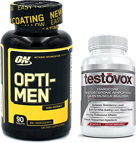 Opti-Men Multivitamin and Testovox The Ultimate Stack for Men Optimum Nutrition Daily Vitamin Bundled with Testosterone Boosting, Muscle Building Supplement Opti Men 90 tabs Testovox 60 caps