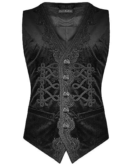 2cdafe3e88701 Devil Fashion Mens-Gotik Weste Schwarz Paisley Velvet Steampunk  Regentschaft  Amazon.de  Bekleidung