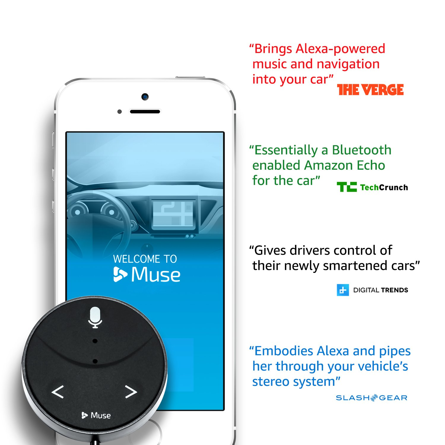 Muse Auto Second Generation: Alexa-Enabled Voice Assistant for Cars with Hands-Free Music, Audiobooks, Navigation and 2-Port USB Car Charger