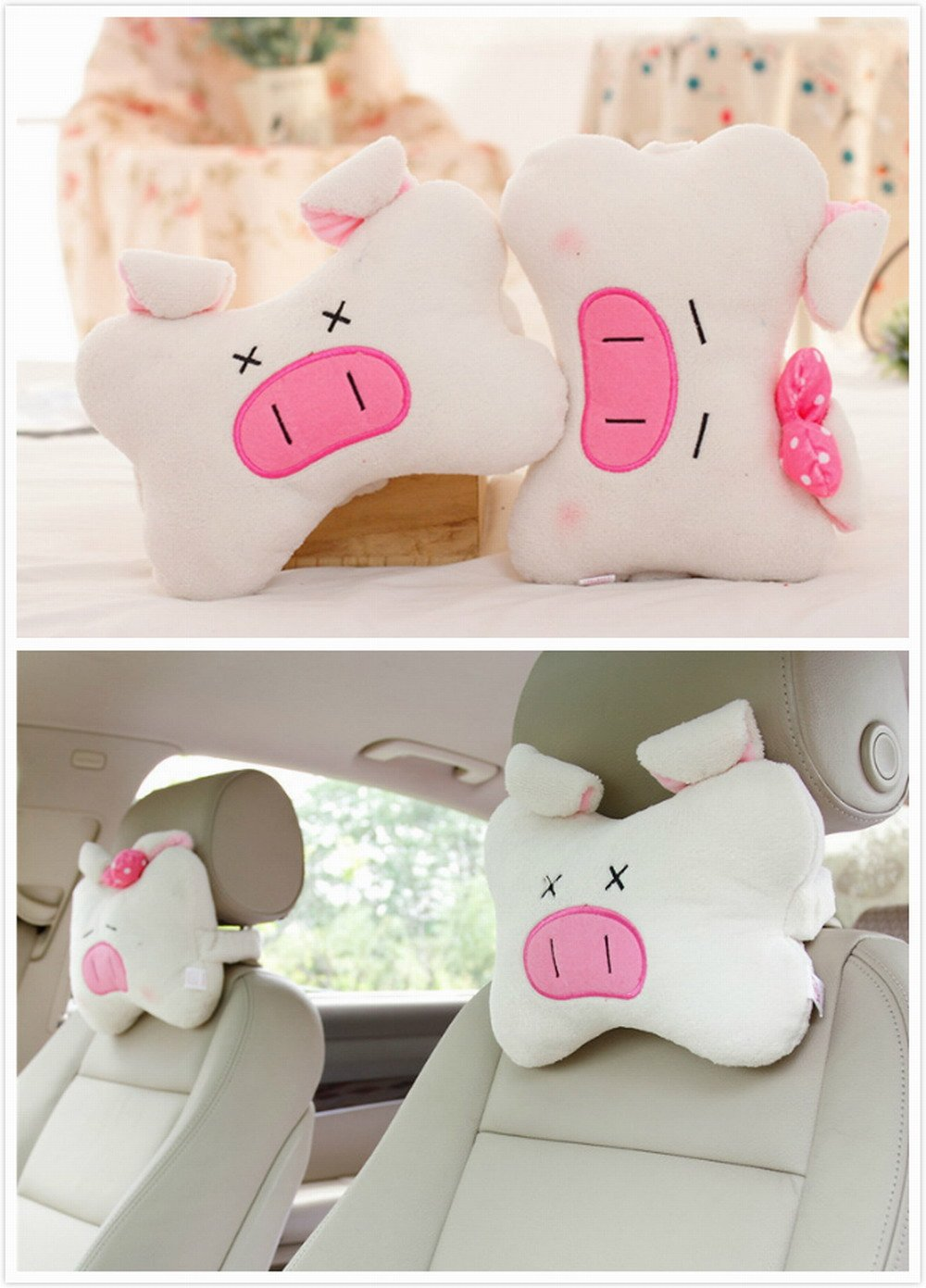 AMZ 2pcs Cartoon Cute Styling Auto Car Plush Headrest Protect Neck Pillow Cartoon Travel Rest Pillow Cushion Pad by (Cartoon 02)