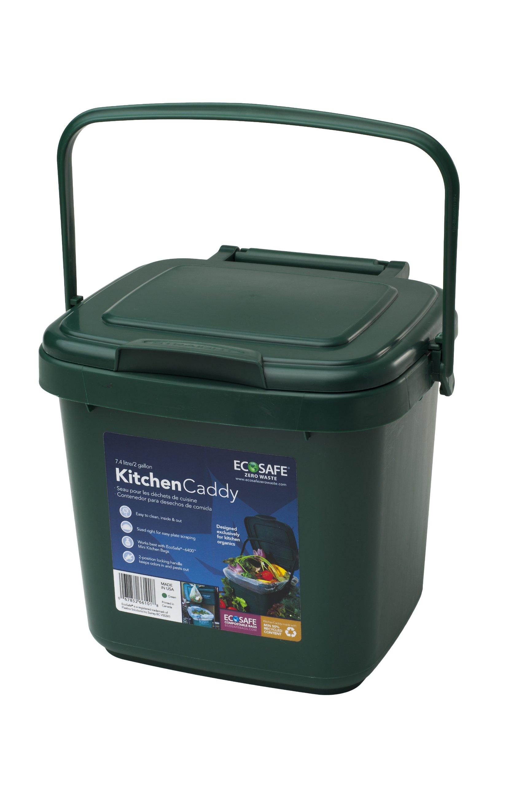 EcoSafe KCGRN Kitchen Caddy Food Waste Bin, Plastic, 2 gallon, Green