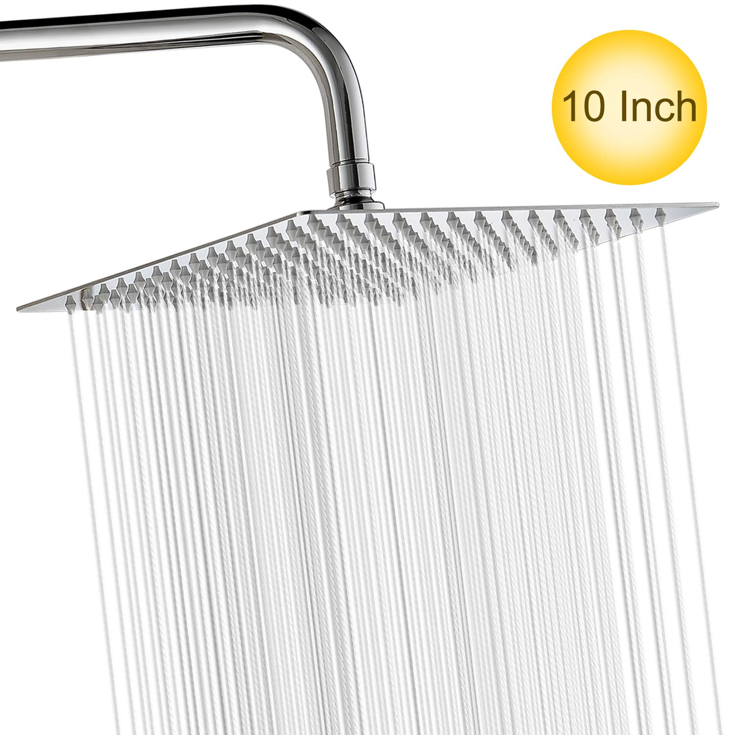 10 Inch High Pressure Shower Head Fixed Mounted Rain Shower head 304 Stainless Steel Ultra Thin Rainfall Shower Head with Mirror Effect Easy to Install Self Cleaning Square