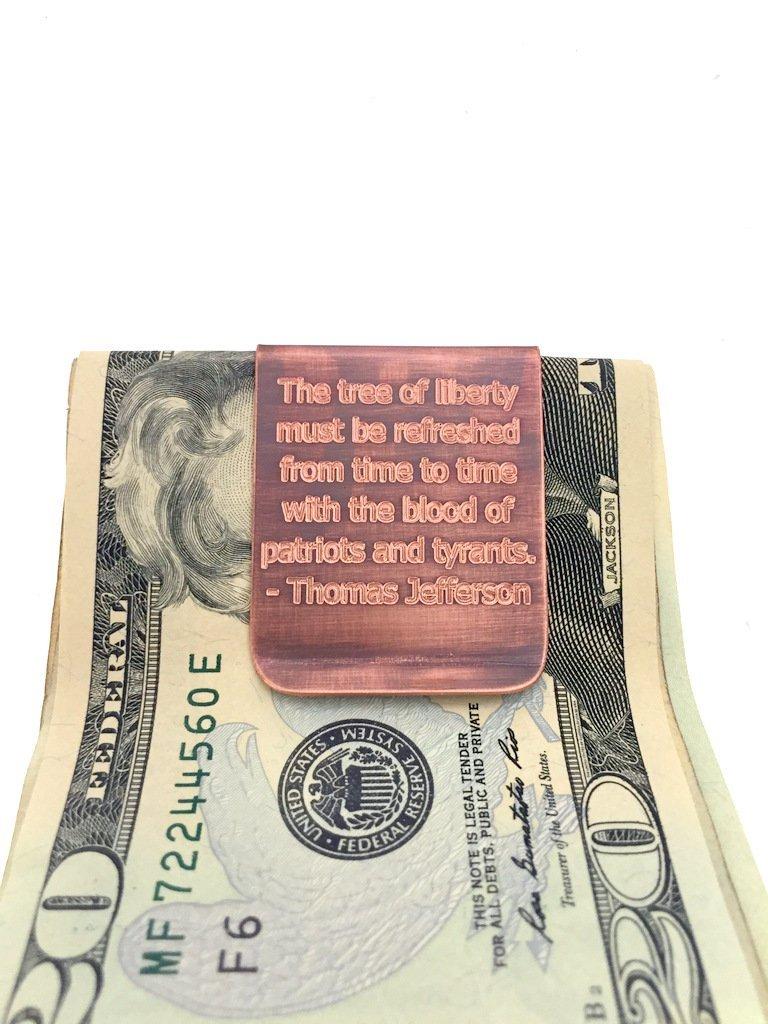 Engraved & Antiqued Copper Money Clip - American Flag - Husband gift, Boyfriend Gift, Stars & Stripes, Wallet, Gift For Him, Military