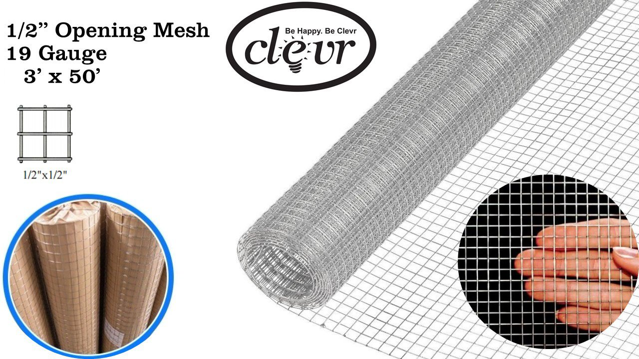 Clevr 3' x 50' 1/2 in 19 gauge Mesh Welded Wire Hot-dipped Galvanized Hardware Cloth Gutter Guards Plant Supports Poultry Enclosure Chicken Run Fence Indoor Rabbit Pen Cage Wire Window Doors