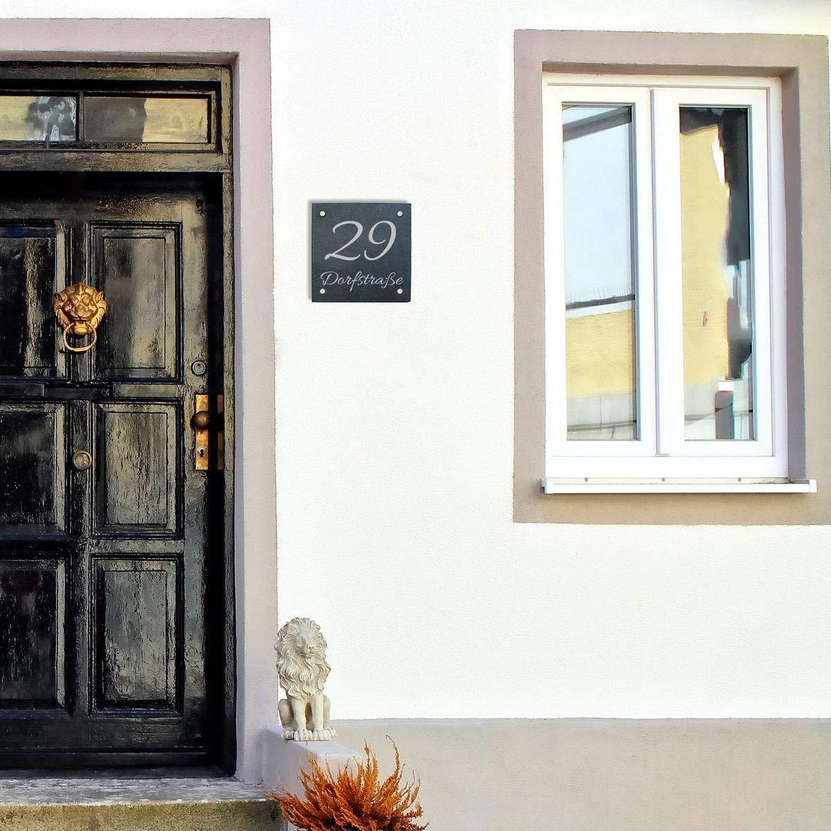 individuellem wetterfestem Druck und Abstandshalter aus Edelstahl 20 x 20 cm Haust/ürschild Hausnummer Hausschild aus Schiefer incl