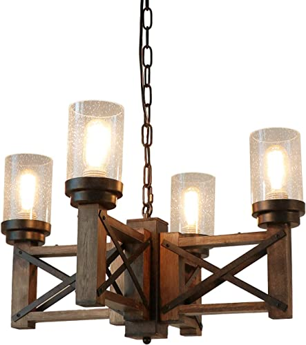 Eumyviv Wood Farmhouse Rustic Chandelier 4 Lights with Glass Shades, 22.8 inches Industrial Dinning Table Pendant Lamp Vintage Edison Hanging Light Fixture, Brown Black, C0075