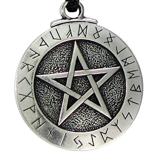 Large Rune Pentacle Pendant Pentagram Jewelry Wiccan Necklace Norse