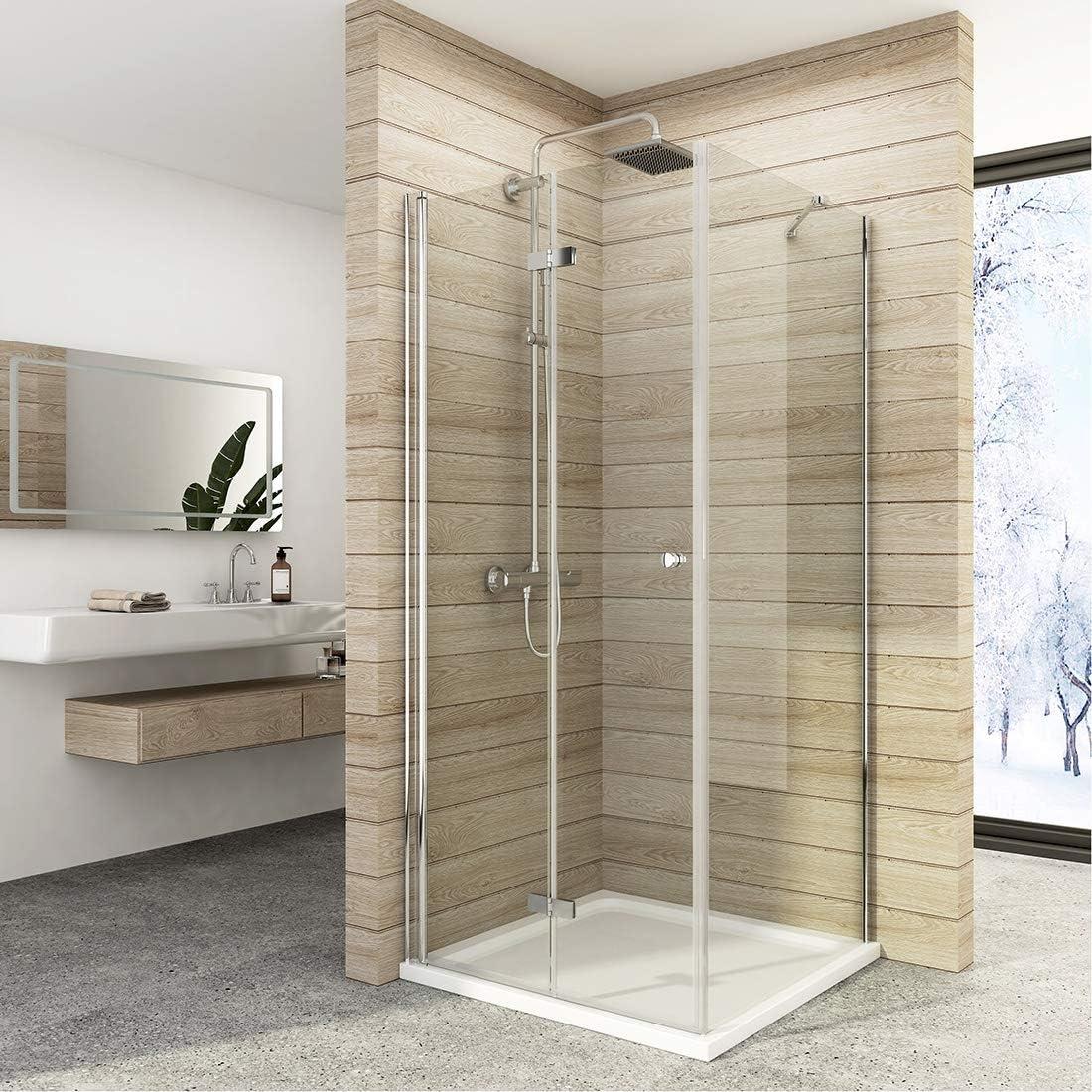 Cabina de ducha doble puerta plegable mampara de ducha de cristal ...
