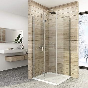 Cabina de ducha doble puerta plegable mampara de ducha de cristal de seguridad ESG estable: Amazon.es: Bricolaje y herramientas