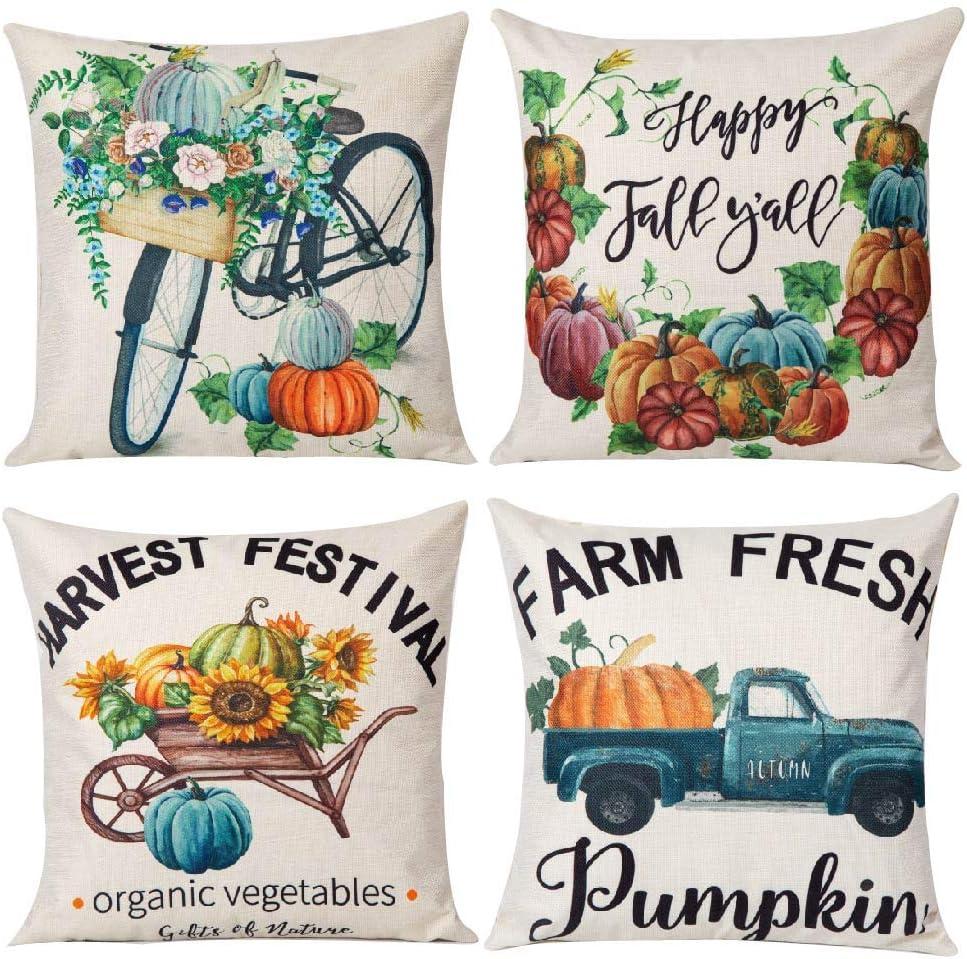 YUESUO 4pcs Fall Throw Pillow Covers 18x18 Inches Pumpkin Thanksgiving Farmhouse Decorative Autumn Pillowcase Cotton Linen Cushion Case for Home Decor